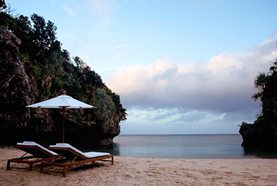 Daybed and private beach